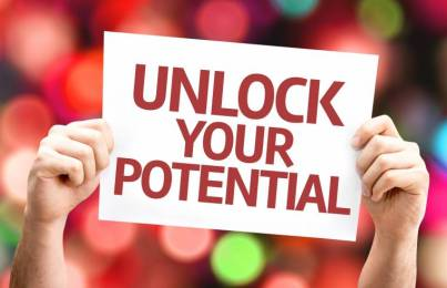 Unlock your Potential card with colorful background